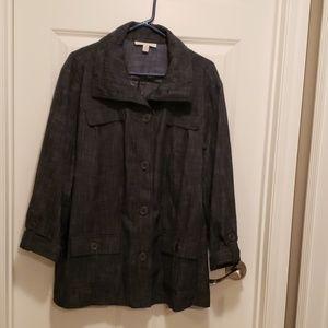 Button front dark denim jacket